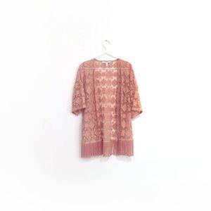 Forever 21 Sheer Embroidered Fringe Kimono